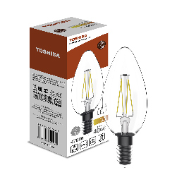 Филаментная лампа Toshiba C35 4W (40W) 2700K 470lm E14 ND Тёплый