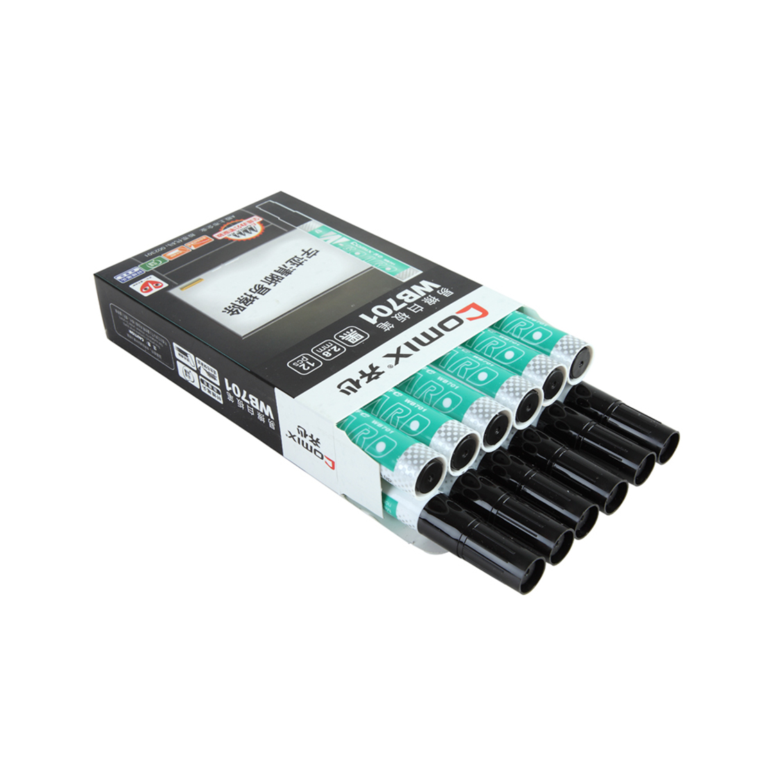 Маркер для досок 2.8 мм. Comix WB701, чёрный (упак. / 12 шт.,)