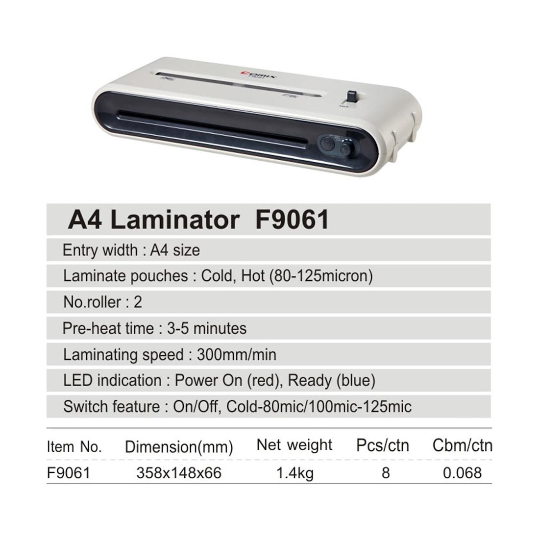 Ламинатор COMIX F9061 А4, 2 вала, 80-125 мкм, 30 см / мин.