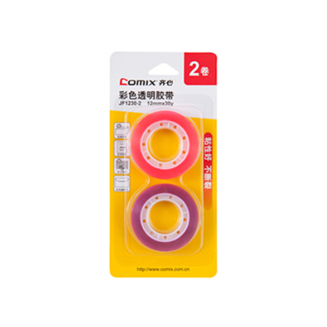 Блистер клейких лент (Скотч) Comix JF1230-2, 12 мм.*18.2 м. (2 ленты)