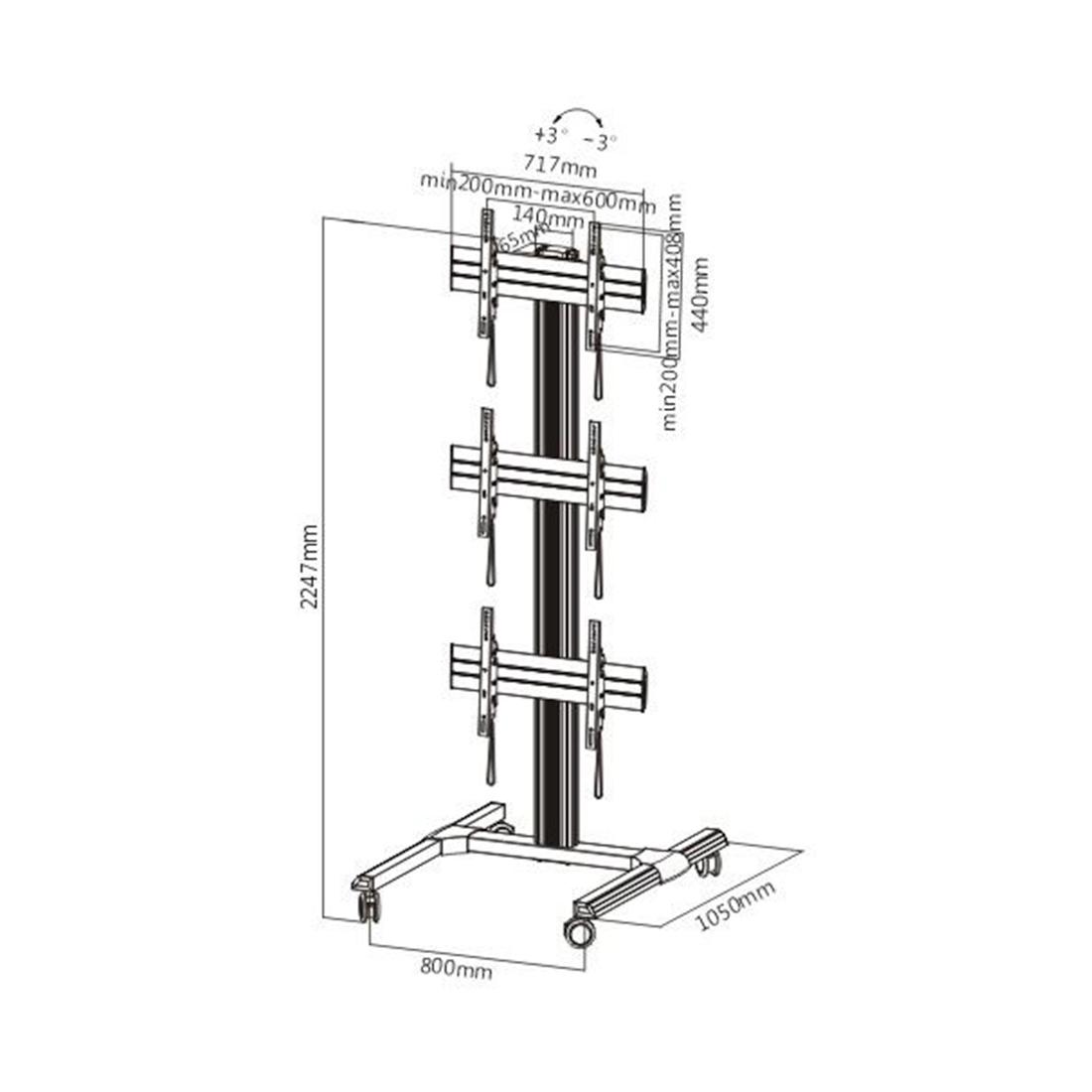Кронштейн мобильный Brateck LVS01-346FW для видеостен, 45