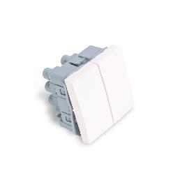 Выключатель двуклавишный Рувинил АДЛ 13-905 45х45 мм Белый АДЛ 13-905