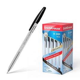 Ручка шариковая ErichKrause® R-301 Classic Stick 1.0, цвет чернил черный (упак./50 шт.)
