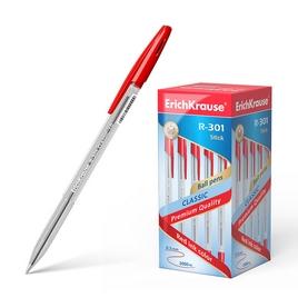 Ручка шариковая ErichKrause® R-301 Classic Stick 1.0, цвет чернил красный (упак./50 шт.)