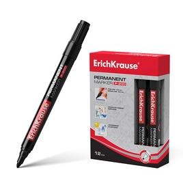 Перманентный маркер ErichKrause®  P-200, цвет чернил черный (упак./12 шт.)