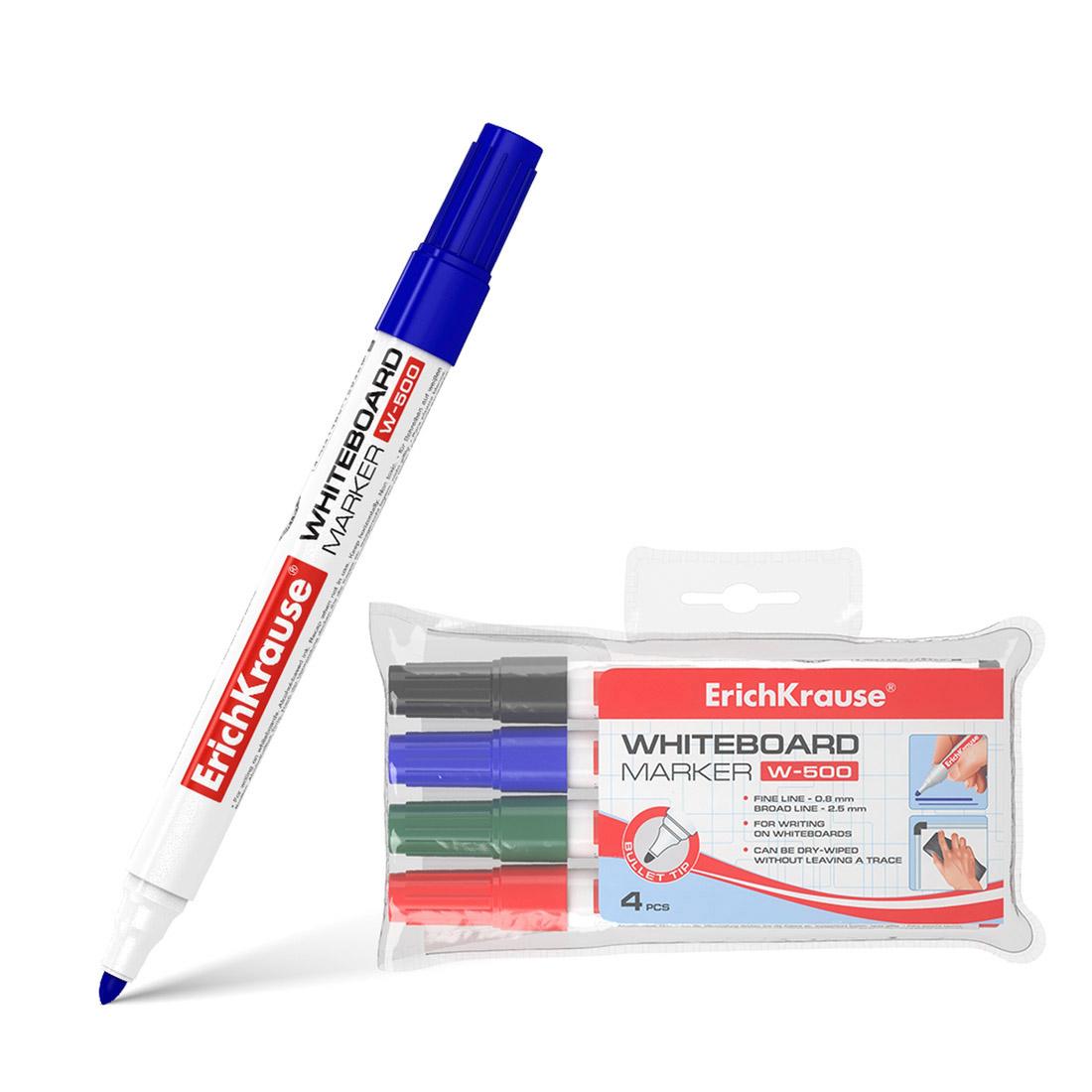 Футляр маркеров для досок ErichKrause® W-500, цв. чернил: черный, синий, красный, зеленый