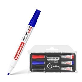 Маркер для досок ErichKrause® W-500 с губкой, цв. чернил: черный, синий, красный (в пенале по 3)