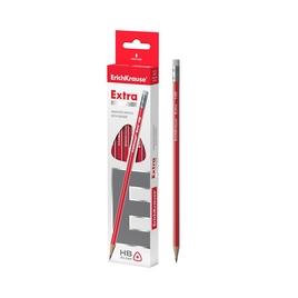 Чернографитный трехгранный карандаш с ластиком ErichKrause® Extra HB (упак./12 шт.)