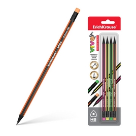 Блистер чернографитных трехгранных карандашей с ластиком  ErichKrause® VIVO HB (4 карандаша)