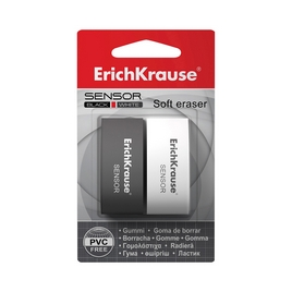 Ластик ErichKrause® Sensor Black&White (в блистере по 2шт.)