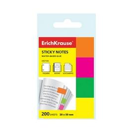 Закладки бумажные с клеевым краем ErichKrause® Neon, 20х50 мм, 200 листов, 4 цвета