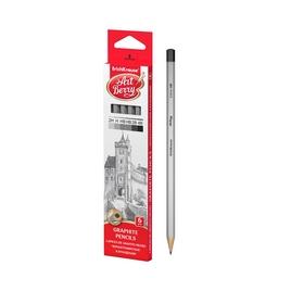 Чернографитные шестигранные карандаши ArtBerry® 2H, H, HB, HB, B, 2B (коробка 6 карандашей)