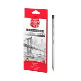 Чернографитные шестигранные карандаши ArtBerry® 5H, 4H, 3H, 2H, H, HB, HB, B, 2B, 3B, 4B, 5B (12)