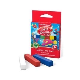Классический пластилин ArtBerry® с Алоэ Вера, коробка 6 цветов, 90г (картон с европодвесом), ассорти