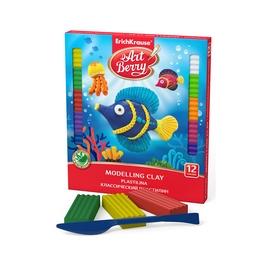 Классический пластилин ArtBerry® с Алоэ Вера, коробка 12 цветов со стеком, 216г, ассорти