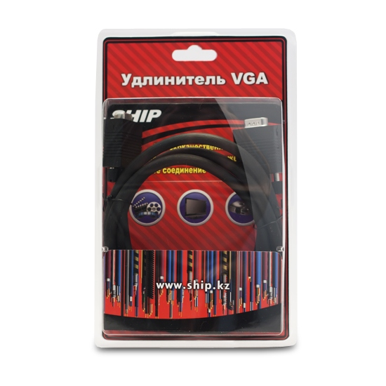 Удлинитель VGA 15Male / 15Female SHIP VG004M / F-1.5B Блистер